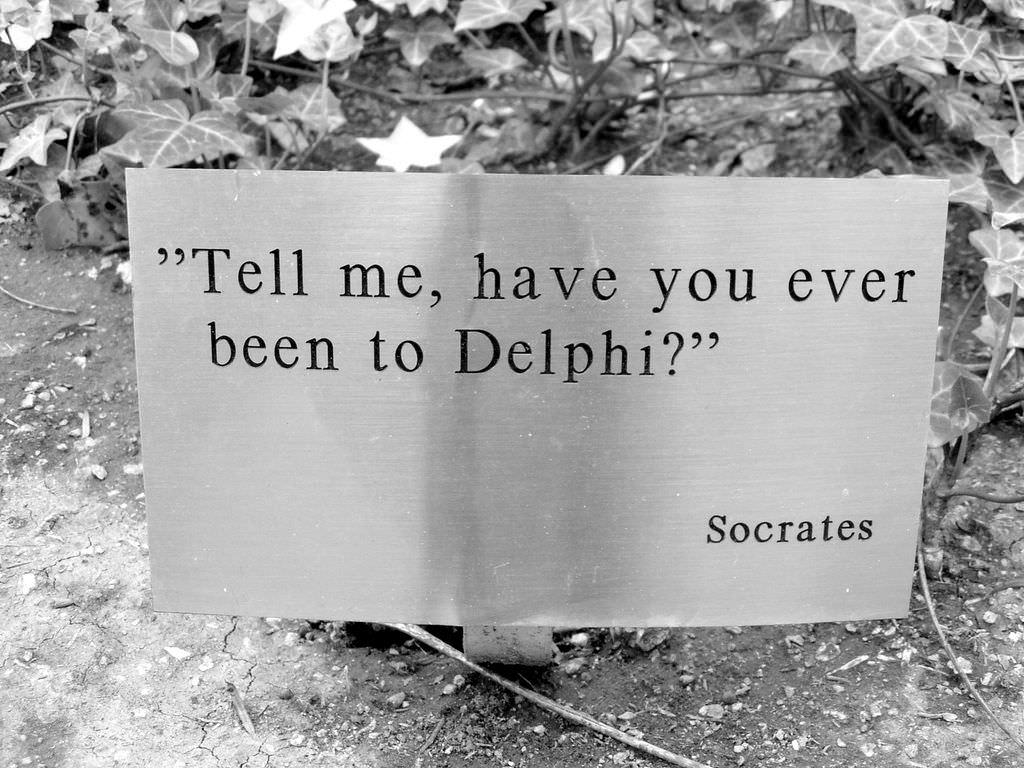 Poster asking if you have been to Delphi, the birth place of happiness philosophy